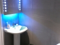 Wash basin with over mirror and led lighting
